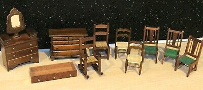 LOT 9 PIECES of VINTAGE/ANTIQUE WOOD DOLLHOUSE FURNITURE W/DRESSER CHAIRS