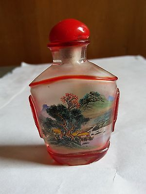 China inside panting Landscape  Glass snuff bottle 内画山水玻璃鼻烟壶  鼻