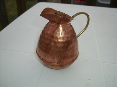 Antique French Solid Copper Jug Handmade with Brass Handle VILLEDIEU