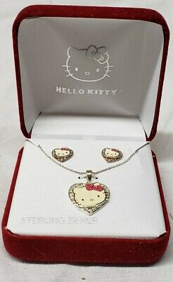 Hello Kitty Sterling Silver 925 Necklace And Earring Box Set New sanrio jcm
