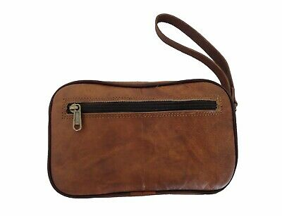 Leather Toiletry Bag Travel Washbag Shaving Dopp Kit Grooming Cosmetic Pouch