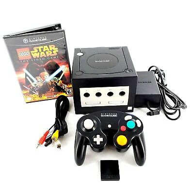 Nintendo GameCube Black Console Bundle w/ 1 Game, Controllers, Card Tested