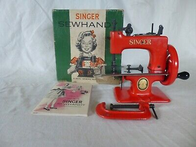1953 SINGER SEW HANDY Sewing Machine w/ box, clamp and Pamphlet - RARE RED