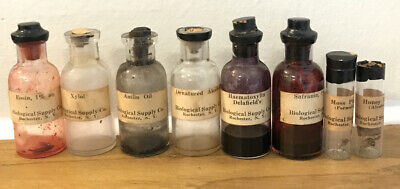 Lot Of 8 Antique Vintage Chemical Medicine Specimen Bottles Biological Supply Co