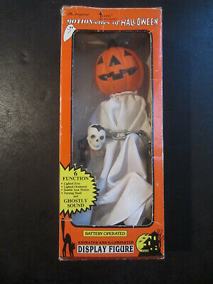 Rare 1988 Telco Halloween GHOST PUMPKINHEAD Animated Motionette Lighted Face