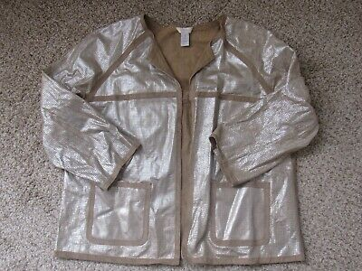 """CHICO'S Faux Suede - """"Cut Out"""" Front Detailed  Tan & Silver JACKET Size 1"""