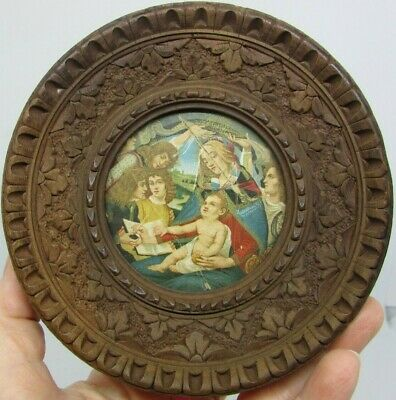 ANTIQUE Small Round CARVED WOOD Easel Back Picture FRAME with Religious Print