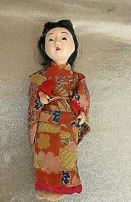 Antique  Japanese Gofun Doll, Glass Eyes, Open Mouth With Teeth