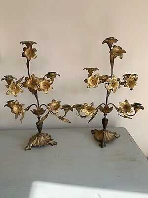 Pair Of Antique French Bronze (Ormolu)? Candelabra With Floral Decorations