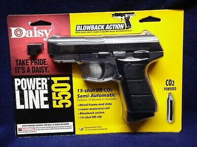 NEW Daisy Powerline 5501 Blowback Pistol METAL FRAME CO2 .177cal BB 430 FPS