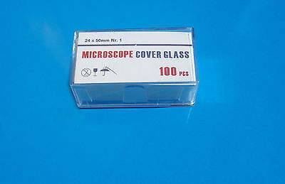 GLASS COVER SLIPS approx 100 x microscope cover slips approx 24 x 50 mm