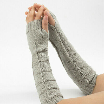 Warm Winter Long Knitted Gloves Fingerless  Mittens Arm Warmers Candy Color