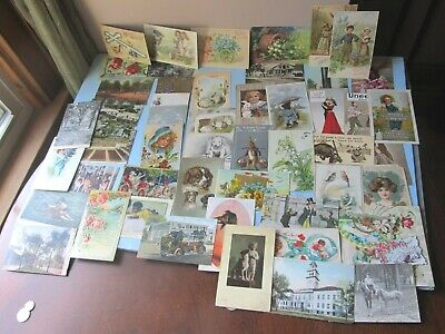 Lot of 52 Antique Victorian Early 1900s POSTCARDS Easter VALENTINES Dogs People