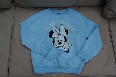 Next Minnie Mouse Girls Sweatshirt Pale Blue Good Condition Age 8