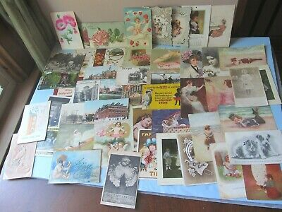 Lot of 50 Antique Victorian Early 1900s POSTCARDS Valentine BATHING BEAUTIES