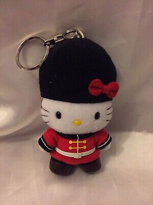 "NWOT Hello Kitty London Beefeater Soldier Keychain 3.5"" Plush Toy Doll Vtg"
