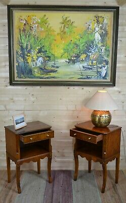 Pair Antique Style Bevan Funnell Reprodux Yew Bedside Cabinets Lamp Side Tables