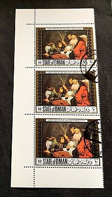State of Oman 1969 Govert Flinck - 3 canceled stamps paintings