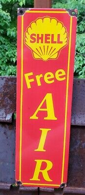 Old Vintage Shell Free Air Porcelain  Gas Pump Fuel Station Advertising Sign