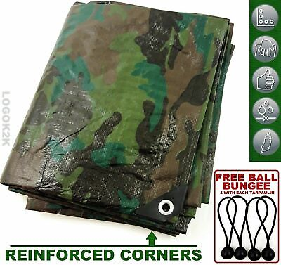 Camo Camouflage Tarpaulin Strong Army Camping Ground Outdoor + BUNGEE BALLS