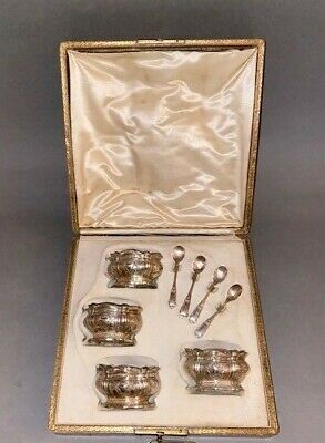 Emile Puiforcat Boxed Set - 4 French Silver Salts w/ Liners & Spoons