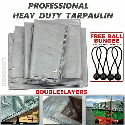 Professional Tarpaulin Extra Heavy Duty Cover Roofing Ground Sheet +BUNGEE BALLS
