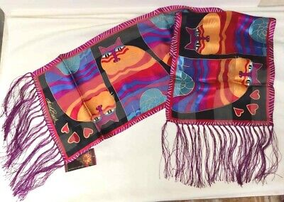 Laurel Burch Silk Neck SCARF Oblong Wrap Polka Dot Cats Gatos New