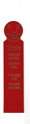 Uncle. Red Leather English Bookmark.