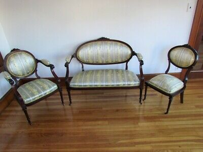 Antique XVI French Settee Loveseat & 2 Chairs Parlor Set Silk Silk Upholstery