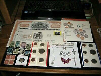 Junk Drawer Coin Lot 1992 Mint Set Jewelry SILVER Old stamps Railroad 1st Day