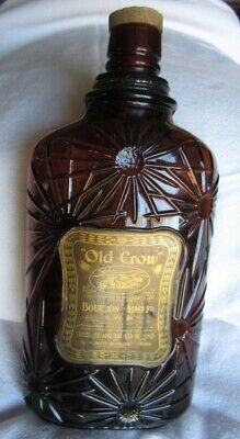 Embossed Old Crow Bourbon Whiskey Pre-Prohibition Pint Bottle Orig Labels & Cork