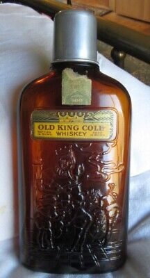 Old King Cole 1917 Whiskey Pre-Prohibition Bottle w Shot Jigger Cup Labels Cork