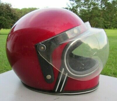 Vintage 1970's, ROP, Full Face Red Helmet With Roper Bubble Shield, Size S/M