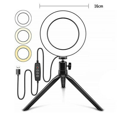 LED Ring Light Studio Photo Video Dimmable Lamp Tripod Selfie Camera Phone Stand