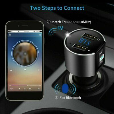Bluetooth Car FM Transmitter LCD Radio MP3 Player Wireless 2 USB Ports Handsfree