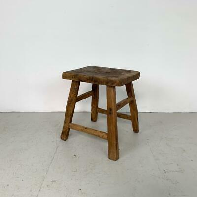 Vintage Rustic Antique Wooden Stool Milking Large Waxed W142