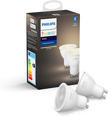 Philips Hue White Smart Spotlight Twin Pack LED [GU10 Spot] with Bluetooth, Work