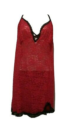 Nwot Secret Treasures Red Black Lace  Straps Babydoll Chemise Nightgown 3X 22-24