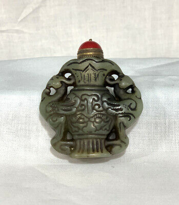 Vintage (Antique) Chinese Hand carved Jade Snuff Bottle