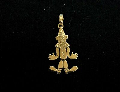 18K Gold Dancing Clown Necklace Pendant