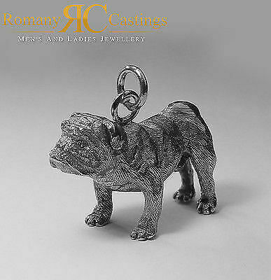 925 Sterling Silver Heavy English Bull Dog Pendant with large Jump Ring Stunning