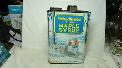 State of Vermont Pure  Maple Syrup Empty Can,, With Cap, Gallon