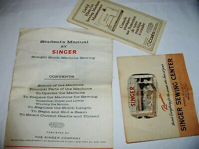 (3) VINTAGE SINGER and COATS THREAD SEWING PAMPHLETS MEMORABILITY