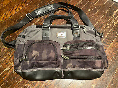 Tumi Camo Carry On Messenger Bag Satchel Leather Trim