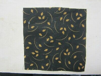 """100% Cotton Quilting/Craft Fabric 5"""" Charms Brown Leaves on Black"""