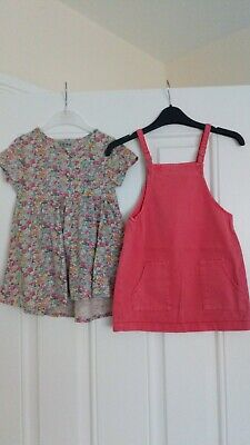 Girls Next Pinafore Dress And Flowery Tunic/Dress Bundle 2-3 Years