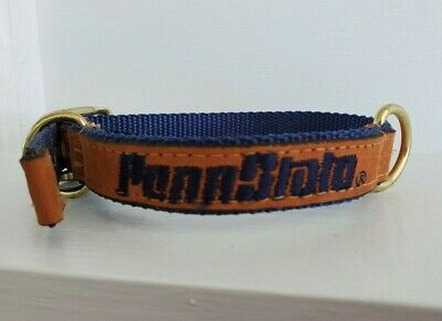 Tan Leather Embroidered Penn State Pet Dog Collar w/ Gold Buckle, S