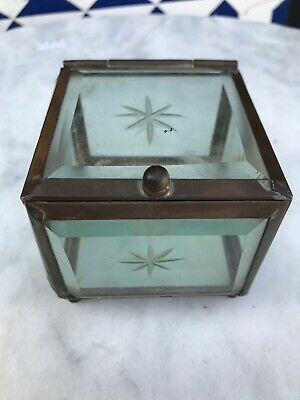 Antique Brass And Bevelled Glass Star Cut Trinket Box.