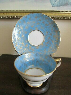Grosvenor England Porcelain Bone China Tea Cup And Saucer Turquoise Blue Gold