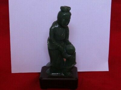 Very Fine Old Chinese Carved Green  Jade Woman With Boy Figurine
